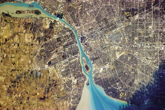 Chris Hadfield took 45,000 photos from space. Here's one showing Detroit, Michigan (right) and Windsor, Ontario separated by the St. Clair River (photo: Chris Hadfield / NASA)
