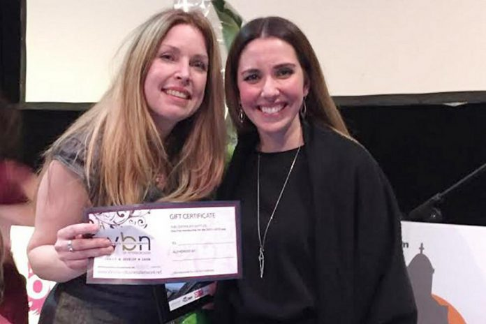 Win This Space contest winner Tina Bromley with Women's Business Network of Peterborough Strategic Planning Director Catia Skinner, who presented Bromley with a free one-year membership (photo courtesy of WBN)