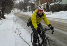 Scott Murison, co-owner at Wild Rock in Peterborough, cycling to work in the winter. Winter Bike to Work day is coming up on February 10th, an opportunity for the rest of us to get active and give winter biking a try. (Photo courtesy of Peterborough Moves)