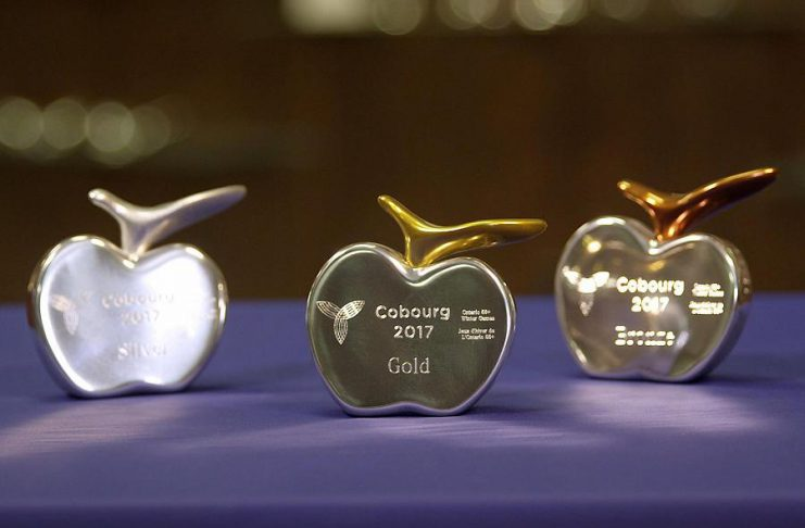 The awards for the 2017 Ontario 55+ Winter Games were designed and crafted by Hoselton Studio Limited of Cobourg. The apple motif is intended to be reflective of Cobourg and the surrounding area. The stem of the apple is made from recycled aluminum and colour-cured to signify gold, silver, and bronze. (Photo: Chris Oliver Photography)