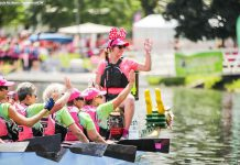 Last year's Dragon Boat Festival raised over $196,000 for breast cancer care at Peterborough Regional Health Centre. Registration is now open for the 2017 festival, which takes place on Saturday, June 10 at Del Crary Park in Peterborough. (Photo: Linda McIlwain / kawarthaNOW)