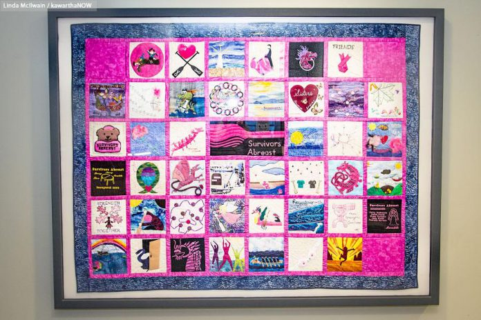 The Survivors Abreast quilt at the Breast Assessment Centre at Peterborough Regional Health Centre recognizes the almost $3 million raised since Peterborough's Dragon Boat Festival began in 2001 (photo: Linda McIlwain / kawarthaNOW)