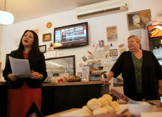 Local lawyer Ann Farquharson, pictured here with Maryam Monsef in February 2015 when she announced her intention to run for the federal Liberal nomination, believes Peterborough City council has erred in its decision to reject heritage designations for the two downtown Peterborough building housing the Pig's Ear Tavern and the Black Horse Pub (photo: Jeannine Taylor, kawarthaNOW)