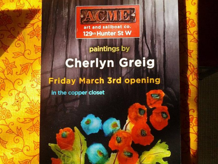 Check out the watercolours of Cherlyn Greig at the Acme Gallery, along with Joe Stable's most recent work in the Copper Closet (photo courtesy of Joe Stable)
