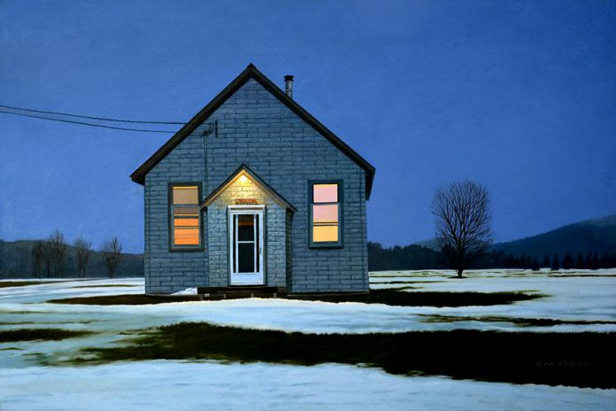 """""""Homestead Winter Evening"""" by Allan O'Marra, Oil on canvas, 30""""x45"""" (photo courtesy of Art Gallery of Bancroft)"""