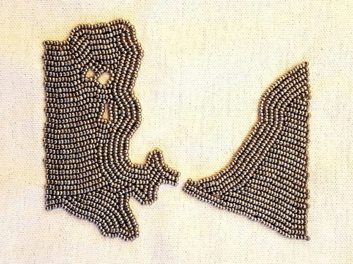This beadwork by Olivia Whetung is a representation of bodies of water along the Trent Severn Waterway (photo courtesy of Artspace)