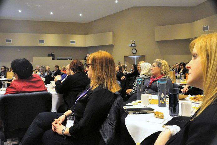 Some of the 150 women in the audience who were capitivated by Palmater's keynote (photo: Jeanne Pengelly / kawarthaNOW)
