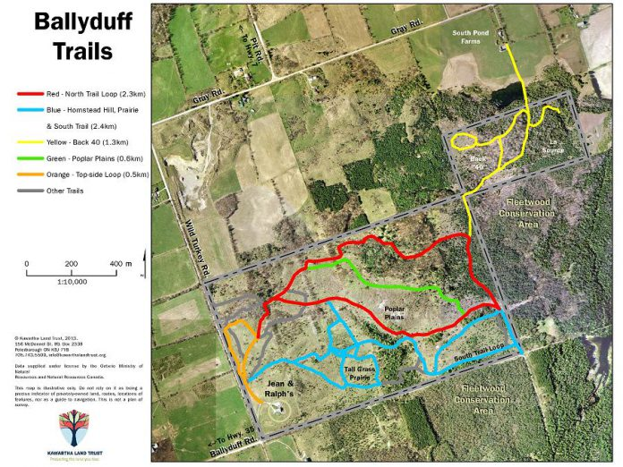 Most of the events will take place on Ballyduff Trails, on property owned by Ralph McKim and Jean Garsonnin and protected through a conservation agreement with Kawartha Land Trust (graphic: Kawartha Land Trust)
