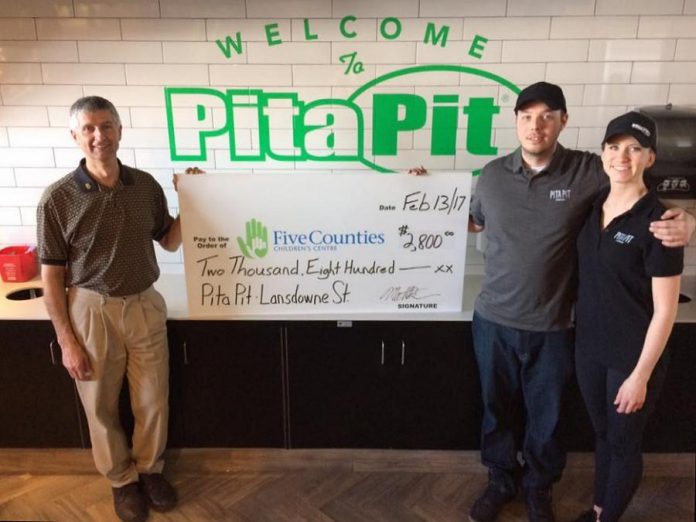 Matt and Stephanie Brown, owners of Pita Pit Lansdowne, recently raised $2,800 for Five Counties Children's Centre