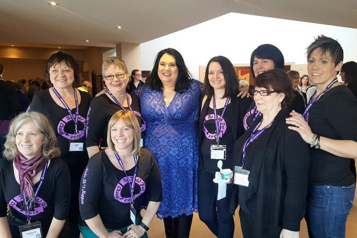 The International Women's Day organizing committee with Candy Palamater shortly before she left the conference (photo: Jeannine Taylor / kawarthaNOW)
