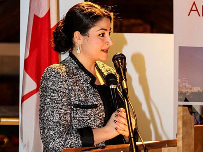 MP Maryam Monsef announcing new federal funding for the Canadian Canoe Museum (photo: Canadian Canoe Museum)