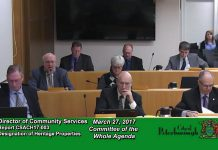 "Community Services Director Ken Doherty speaking at the Committee of the Whole meeting on March 27, 2017. Peterborough City Council declined to apply for heritage designation to the two historic downtown Peterborough buildings currently housing The Pig's Ear Tavern and the Black Horse Pub. Local lawyer Ann Farquharson has called this decision a ""disgrace"". (Photo: City of Peterborough)"