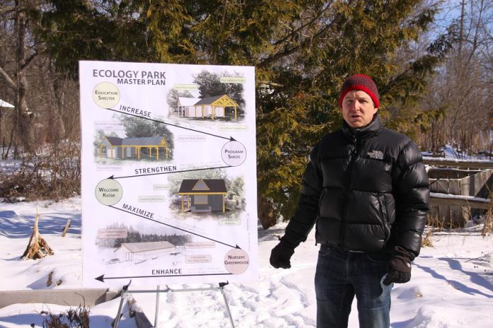 Executive director Chris Magwood of The Endeavour Centre talks about the future plans for Ecology Park. The Endeavour Centre, a leading designer and builder of green buildings, will be a key partner in the planned improvements to the community park. (Photo: Jeannine Taylor / kawarthaNOW)
