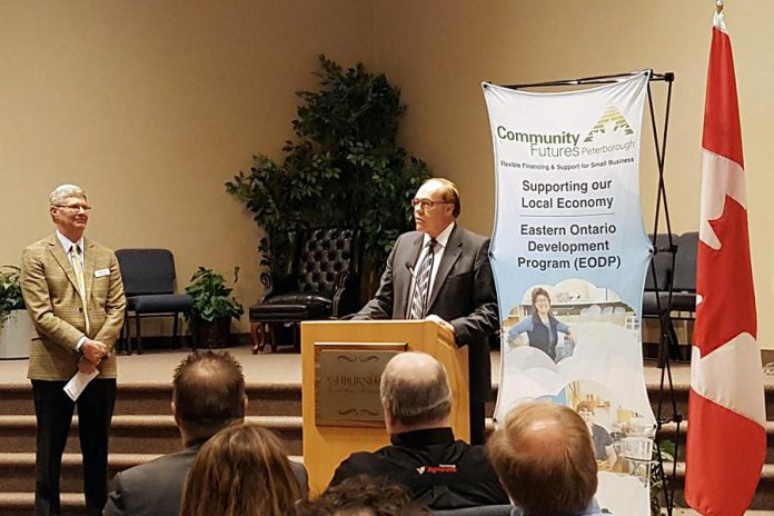 Peterborough Mayor Darryl Bennett explains how EODP funding is an investment in the local economy (photo: Jeannine Taylor / kawarthaNOW)