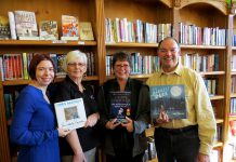 The United Way for the City of Kawartha Lakes is raising funds by selling three of former astronaut Chris Hadfield's books in advance of his May 11th keynote in Lindsay. Pictured holding the books are: Shantal Ingram, Community Investment Coordinator United Way of the City of Kawarthas Lakes; Helga Guthrie, VCCS Employment Services and United Way Campaign Cabinet member; Cheri Hogg, owner of Kent Bookstore; and Pat Twohey, Three Chairs Committee (photo courtesy of United Way of the City of Kawarthas Lakes)