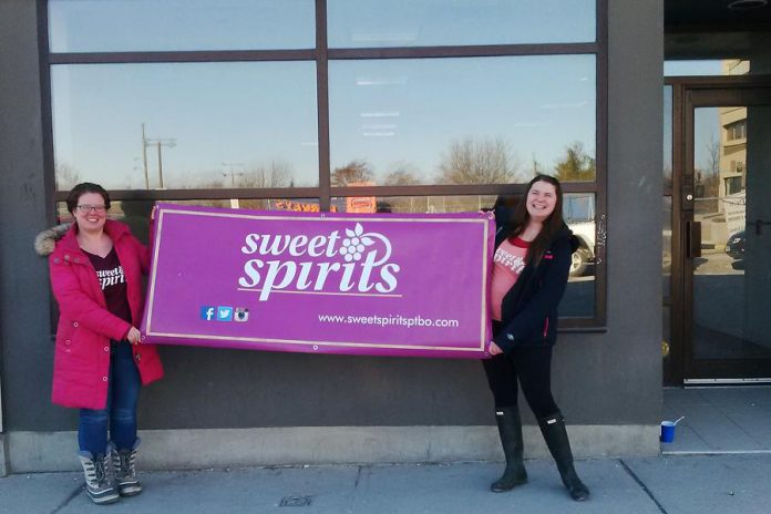 Sweet Spirits staff member Carlisle Froese and owner Hannah Howey show off the new downtown Peterborough location opening this May (photo: Sweet Spirits)