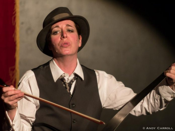 In addition to being a playwright, actor, and spoken word artist, Petch plays the musical saw.  Perhaps the best-known musical saw player was German actor and singer Marlene Dietrich, who brought the instrument with her when she moved to Hollywood in 1929 and played there in the following years at film sets and Hollywood parties. (Photo: Andy Carroll)