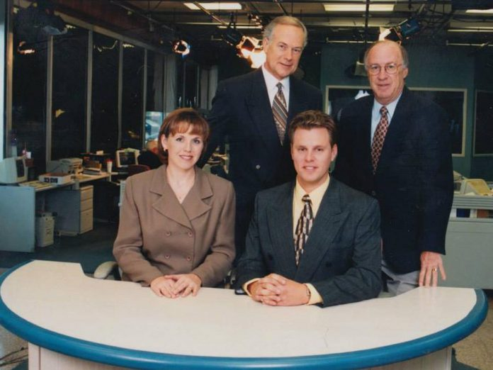 Janina Fialkowska's brother Peter Fialkowski (second from left) brought weather forecasts to Peterborough-area residents on CHEX Television for more than 30 years (photo: CHEX TV / Facebook)