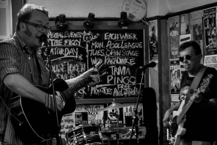 Rick Fines and JP Hovercraft performing at the January 2016 Deluxe Blues Jam.  JP will be celebrating his 65th birthday at the final Pig's Ear Deluxe Blues Jam on April 15. (Photo: SLAB Productions)