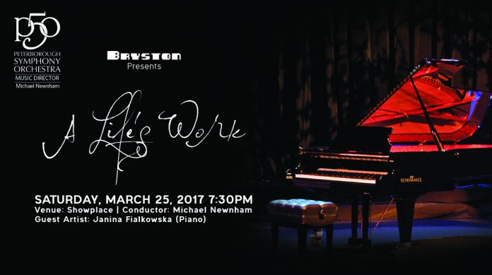 """Sponsored by Bryston, the Peterborough Symphony Orchestra presents """"A Life's Work"""" on Saturday, March 25 at Showplace Performance Centre. This is the fourth concert in the orchestra's 50th anniversary season. (Graphic: Peterborough Symphony Orchestra)"""