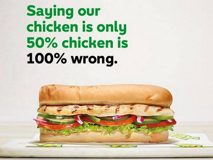 Fast-food chain Subway claims the results of the CBC Marketplace DNA testing, contracted to Trent University's Wildlife Forensic DNA Laboratory, are wrong (photo: Subway / Facebook)