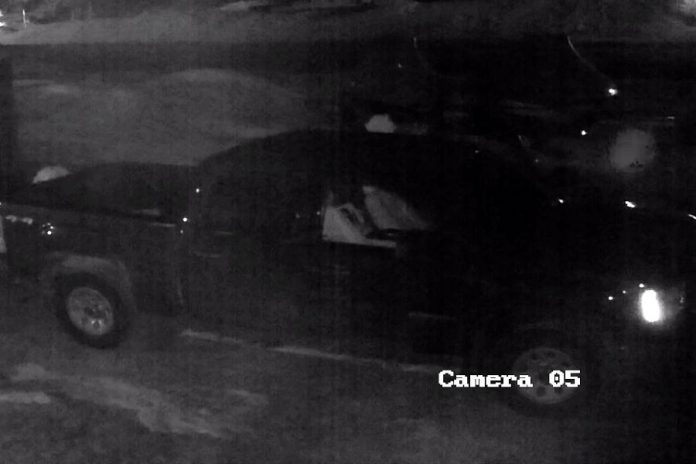 Police are looking for this black pickup truck, captured on a security camera, that was involved in the theft of $60,000 worth of equipment from Tucker's Marine in Apsley