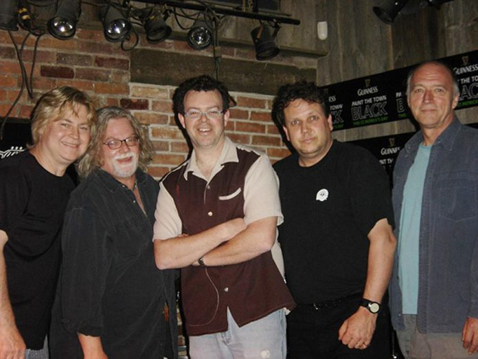 Terry with the members of Jericho's Wall (Brent Bailey, Jan Schoute, Bruce Francis, and Derek McKendrick). The band played every Saturday night at the Historic Red Dog Tavern in downtown Peterborough for 15 years.