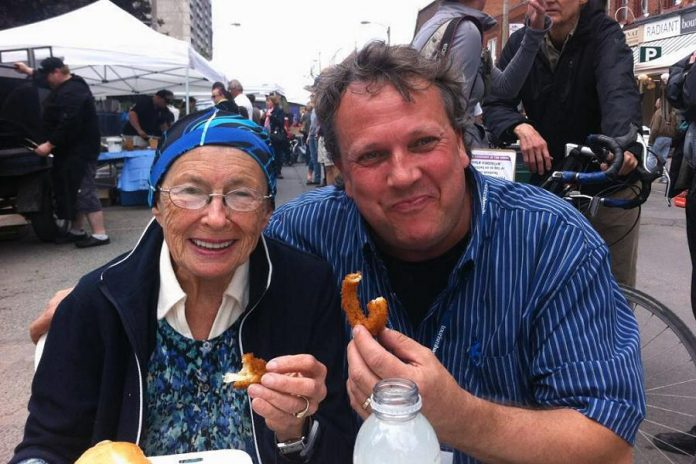 Terry enjoying a taste of downtown Peterborough with the late Erica Cherney