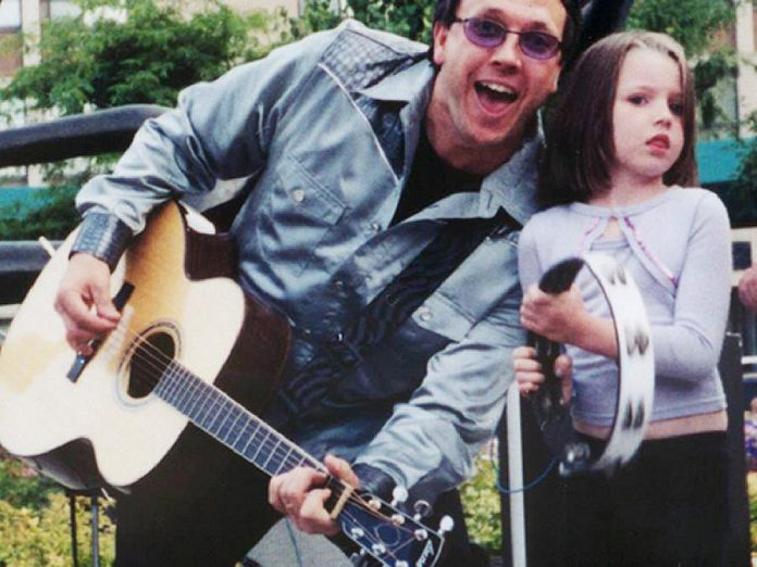 Terry onstage with his daughter Jasher (now 21)