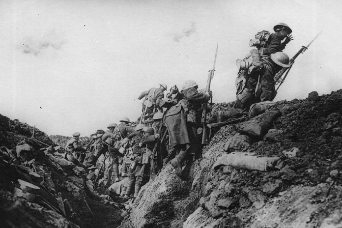 "Canadian soldiers going ""over the top"" at Vimy Ridge. More than 15,000 Canadians successfully captured the ridge from the German army, with 3,589 Canadians killed and another 7,104 wounded. (Photo: Canadian War Museum)"