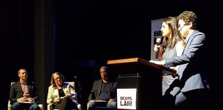 2017 Bears' Lair Entrepreneurial Competition judges James Sculthorpe, Kate Ramsay, and Warren Faleiro with emcees Sana Virji and Ribat Chowdhury (founders of Ribbet and Streets of Canada) at The Venue in Peterborough on April 25. (Photo: Jeannine Taylor / kawarthaNOW)