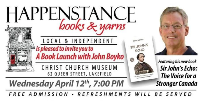 John Boyco is launching his new book at Happenstance Books & Yarns in Lakefield on April 12th