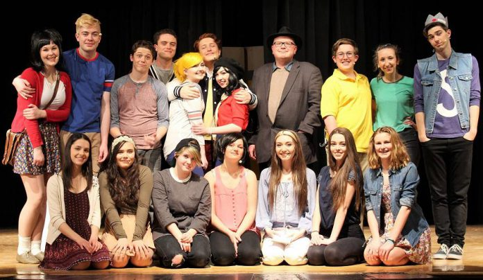 Sam Tweedle (fourth from right) with the cast of Everybody Loves Archie at the April 24th dress rehearsal. (Photo: Enter Stage Right)