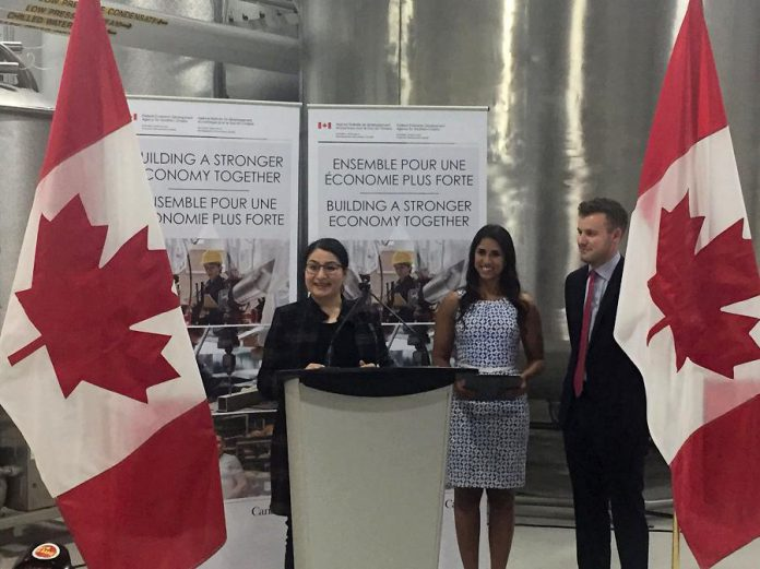 Peterborough-Kawartha MP Maryam Monsef, pictured beside Noblegen CEO & Founder Adam Noble and Executive VP & Co-founder Andressa Lacerda, announced a $600,000 investment in the Peterborough-based biotech company. (Photo: Innovation Cluster Peterborough and The Kawarthas / Twitter)