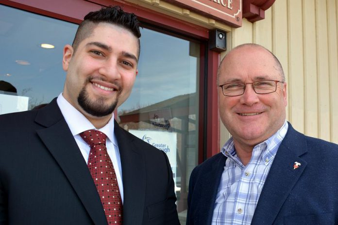 Waleed Dabbah of Hampton Financial with Stuart Harrison, President and CEO of the Peterborough Chamber of Commerce. Waleed has brought an arm of the international payment processing business to Peterborough. (Photo: Eva Fisher)