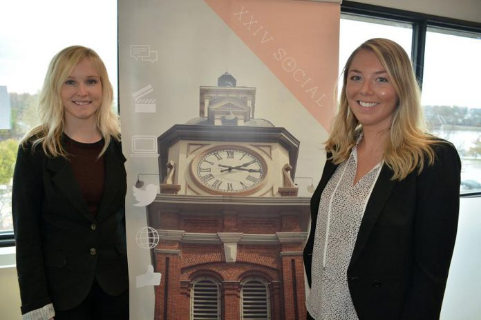 MaryBeth Miller and Melissa Butler, who run social media marketing startup XXIV Social, say The Cube provides a professional space where they can meet clients of their home-based business. (Photo: Eva Fisher / kawarthaNOW)