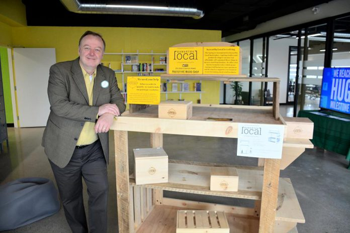 "Rob Howard of Kawartha Local sought input from other entrepreneurs on a new ""micro shop"" project that he's piloting. (Photo: Eva Fisher / kawarthaNOW)"