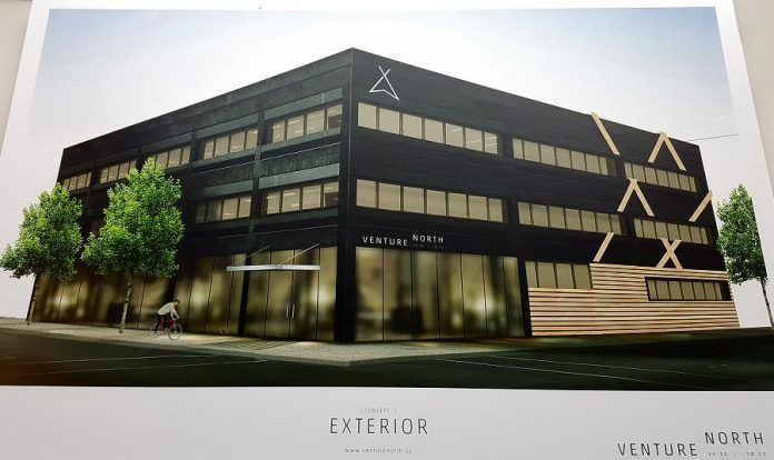 What the VentureNorth building at 270 George Street North will look like when exterior renovations are completed. The Innovation Cluster and Peterborough Economic Development are anchor tenants of the new downtown Peterborough business hub. (Photo: Jeannine Taylor / kawarthaNOW)
