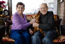 NHL legend Johnny Bower and his wife Nancy with Jasper, a rescue dog owned by professional photographer Peter Nguyen (who took this picture). A Peterborough native now living in Toronto, Nguyen is one of the photographers donating their time for Shelter Shots, a 2018 calendar featuring past and current National Hockey League players who have rescues as pets. The calender, which is expected to be available by August for $20, is a fundraiser for the Peterborough Humane Society. (Photo: Peter Nguyen)