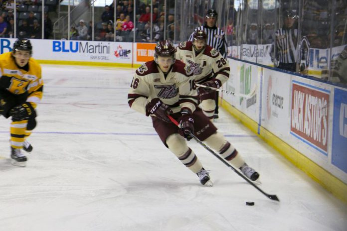 Steve Lorentz (pictured) and Jonathan Ang both scored twice to help the Petes defeat the Kingston Frontenacs 6-2 in Kingston on April 13. The Petes now advance to the OHL conference final for the first time since 2006. (Photo: Tyler Penney / Peterborough Petes)