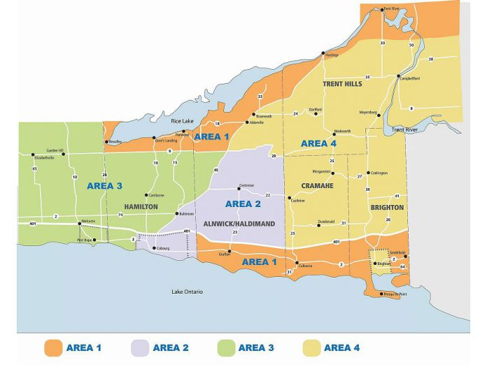 In Northumberland County, green waste is collected during specific weeks in the spring depending on where you live (map: Northumberland County)