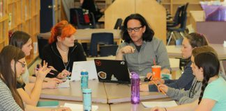 """Nicole Roy and Derek Weatherdon and the cast of new theatre company Planet 12 Productions during a read-through of """"Boy Wonders"""", the debut production of the company that premieres on June 8 at The Theatre On King in Peterborough. (Photo: Planet 12 Productions)"""