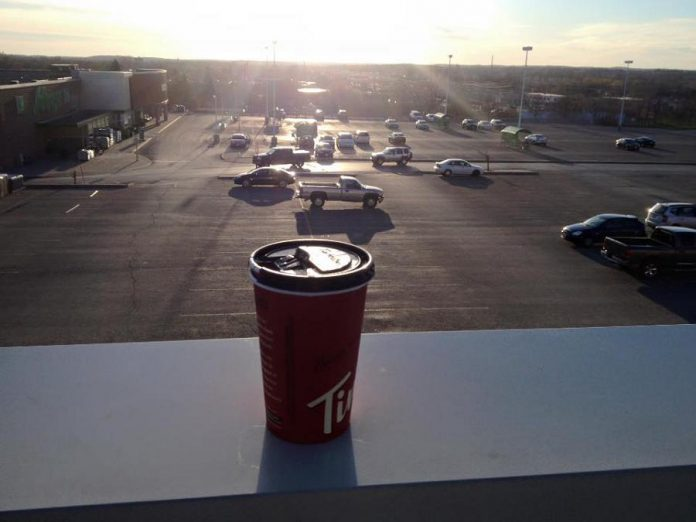 Paul's early morning view from the roof of The Brick, with coffee courtesy of Tim Hortons.