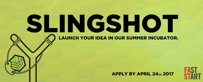 The deadline to apply for Slingshot is April 24 (graphic:  Innovation Cluster Peterborough and The Kawarthas)