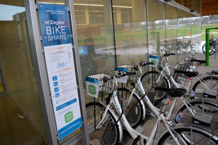 Thanks to Fleming Student Administrative Council and the City of Peterborough, the Zagster Bike Share service is now available in Peterborough. Here is the Zagster station outside the Kawartha Trades and Technology Centre at Sutherland Campus. (Photo: Fleming College)
