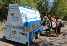 Children at the Peterborough Children's Water Festival learn about the benefits of drinking municipal tap water at the PTBO H20 mobile tap water station. This 'water buggy' provides a supply of fresh tap water to refill reusable bottles and can be used as a drinking fountain, too. Watch for the Peterborough Utilities' PTBO H20 at community events throughout the Peterborough area this summer, and fill up your reusable water bottle for free. (Photo: Karen Halley)
