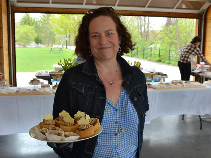 The Pastry Peddler created the Cavan Blazer butter tart, made with cinnamon cream cheese, caramel drizzle and a white chocolate maple leaf. (Photo: Eva Fisher / kawarthaNOW)