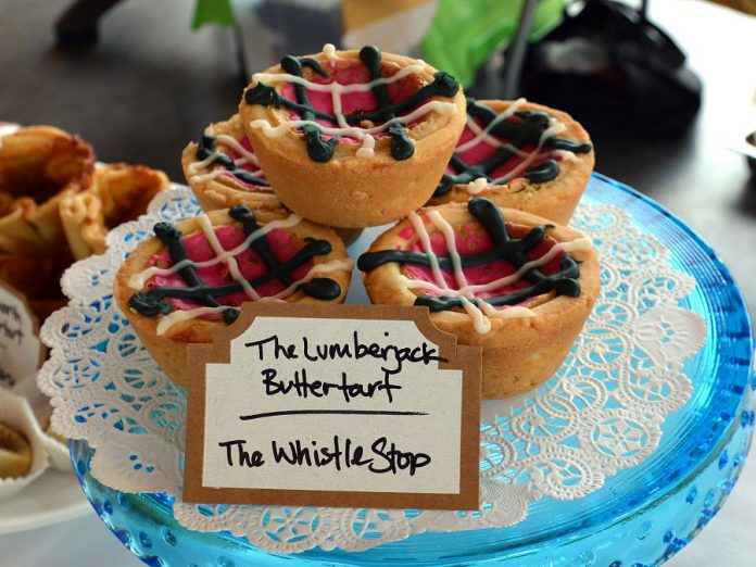 Love plaid? The Whistle Stop's Lumberjack butter tart is a Canadian fashion statement in a dessert. (Photo: Eva Fisher / kawarthaNOW)