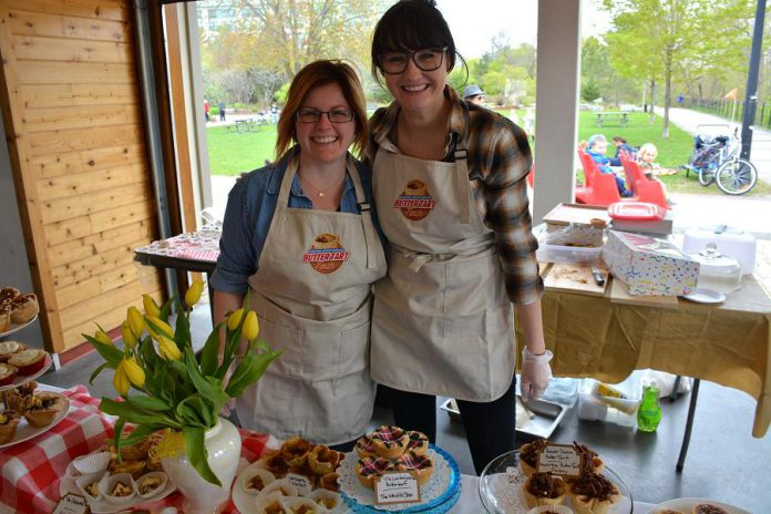 Marie Lummiss and Sarah Kerr of Kawarthas Northumberland showcased the new collection of butter tarts. (Photo: Eva Fisher / kawarthaNOW)