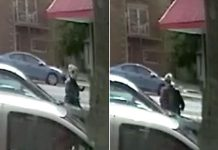 Video surveillance stills show a woman at the intersection of Parkhill Road and George Street in Peterborough at the location and time of a pay phone where a bomb threat was made